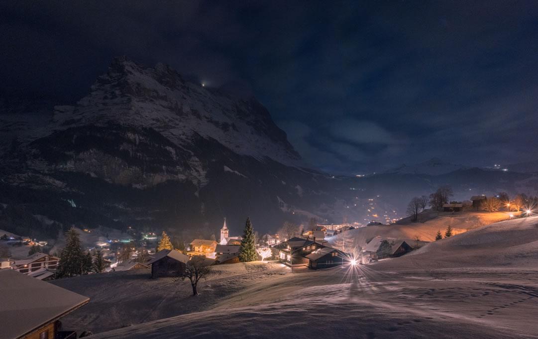 Panorama View vom Hotel Gletscherblick im Winter